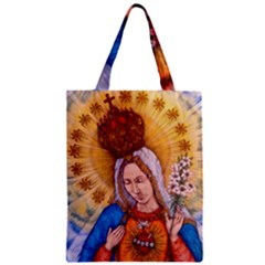 Immaculate Heart Of Virgin Mary Drawing Zipper Classic Tote Bags by KentChua