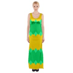 Green Rhombus Chains Maxi Thigh Split Dress by LalyLauraFLM