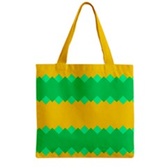 Green Rhombus Chains Grocery Tote Bag by LalyLauraFLM