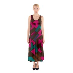 Brown Pink Blue Shapes Full Print Maxi Dress by LalyLauraFLM
