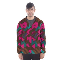 Brown Pink Blue Shapes Mesh Lined Wind Breaker (men) by LalyLauraFLM