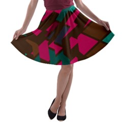 Brown Pink Blue Shapes A Line Skater Skirt by LalyLauraFLM