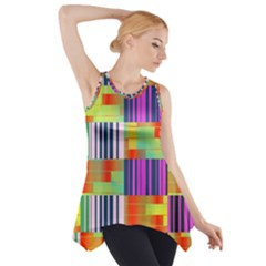 Vertical And Horizontal Stripes Side Drop Tank Tunic