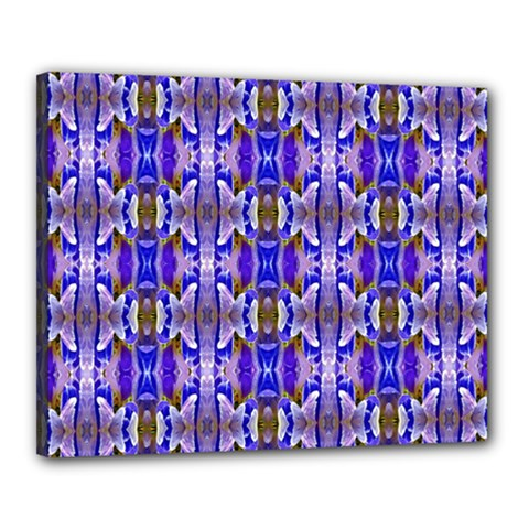 Blue White Abstract Flower Pattern Canvas 20  X 16  by Costasonlineshop