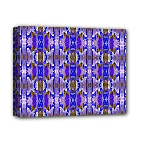 Blue White Abstract Flower Pattern Deluxe Canvas 14  X 11