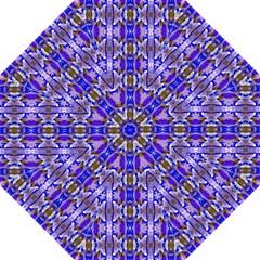 Blue White Abstract Flower Pattern Golf Umbrellas by Costasonlineshop