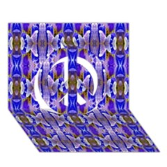 Blue White Abstract Flower Pattern Peace Sign 3d Greeting Card (7x5)  by Costasonlineshop