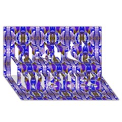 Blue White Abstract Flower Pattern Best Wish 3d Greeting Card (8x4)  by Costasonlineshop