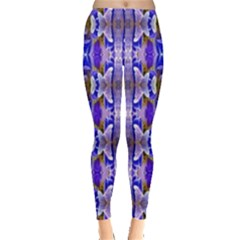 Blue White Abstract Flower Pattern Leggings  by Costasonlineshop