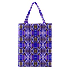 Blue White Abstract Flower Pattern Classic Tote Bags