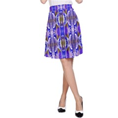 Blue White Abstract Flower Pattern A Line Skirt by Costasonlineshop