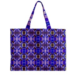 Blue White Abstract Flower Pattern Zipper Tiny Tote Bags by Costasonlineshop