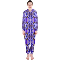 Blue White Abstract Flower Pattern Hooded Jumpsuit (ladies)  by Costasonlineshop