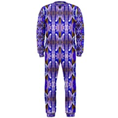 Blue White Abstract Flower Pattern Onepiece Jumpsuit (men)