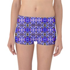 Blue White Abstract Flower Pattern Reversible Boyleg Bikini Bottoms