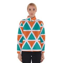 Orange Green Triangles Pattern Winter Jacket by LalyLauraFLM