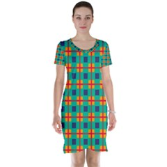 Squares In Retro Colors Pattern Short Sleeve Nightdress by LalyLauraFLM