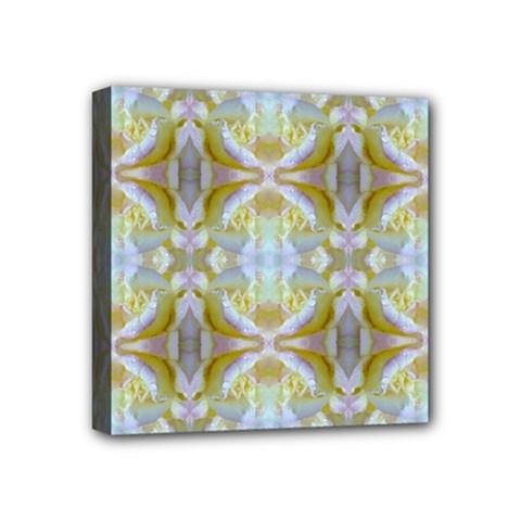 Beautiful White Yellow Rose Pattern Mini Canvas 4  X 4