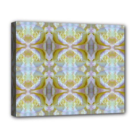Beautiful White Yellow Rose Pattern Deluxe Canvas 20  X 16