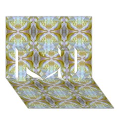 Beautiful White Yellow Rose Pattern I Love You 3d Greeting Card (7x5)  by Costasonlineshop
