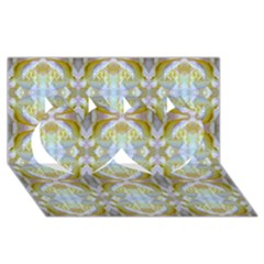Beautiful White Yellow Rose Pattern Twin Hearts 3d Greeting Card (8x4)  by Costasonlineshop