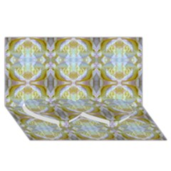 Beautiful White Yellow Rose Pattern Twin Heart Bottom 3d Greeting Card (8x4)  by Costasonlineshop