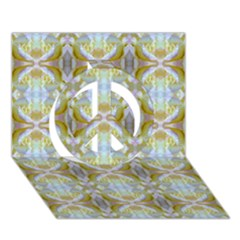 Beautiful White Yellow Rose Pattern Peace Sign 3d Greeting Card (7x5)  by Costasonlineshop