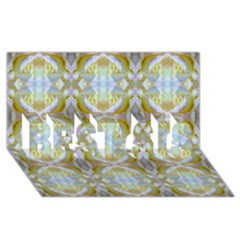 Beautiful White Yellow Rose Pattern Best Sis 3d Greeting Card (8x4)  by Costasonlineshop