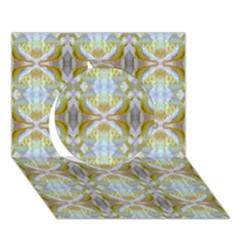 Beautiful White Yellow Rose Pattern Circle 3d Greeting Card (7x5)  by Costasonlineshop