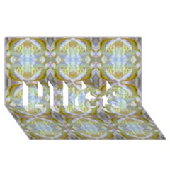 Beautiful White Yellow Rose Pattern Hugs 3d Greeting Card (8x4)