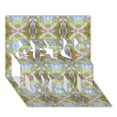 Beautiful White Yellow Rose Pattern Get Well 3d Greeting Card (7x5)  by Costasonlineshop