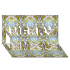Beautiful White Yellow Rose Pattern Merry Xmas 3D Greeting Card (8x4)  by Costasonlineshop