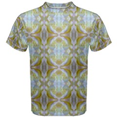 Beautiful White Yellow Rose Pattern Men s Cotton Tee by Costasonlineshop