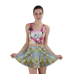 Beautiful White Yellow Rose Pattern Mini Skirts by Costasonlineshop