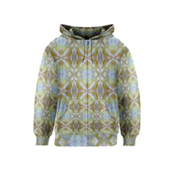 Beautiful White Yellow Rose Pattern Kids  Zipper Hoodie by Costasonlineshop