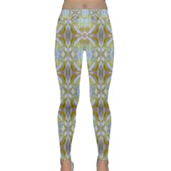 Beautiful White Yellow Rose Pattern Yoga Leggings by Costasonlineshop