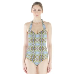 Beautiful White Yellow Rose Pattern Women s Halter One Piece Swimsuit by Costasonlineshop