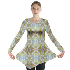 Beautiful White Yellow Rose Pattern Long Sleeve Tunic  by Costasonlineshop