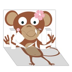Female Monkey With Flower I Love You 3d Greeting Card (7x5)  by ilovecotton