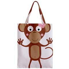Female Monkey With Flower Zipper Classic Tote Bags by ilovecotton
