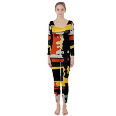 Distorted Shapes In Retro Colors  Long Sleeve Catsuit by LalyLauraFLM