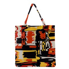 Distorted Shapes In Retro Colors Grocery Tote Bag by LalyLauraFLM