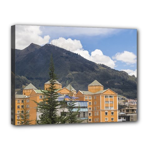 Buildings And Mountains Urban Scene In Quito Ecuador Canvas 16  X 12  by dflcprints