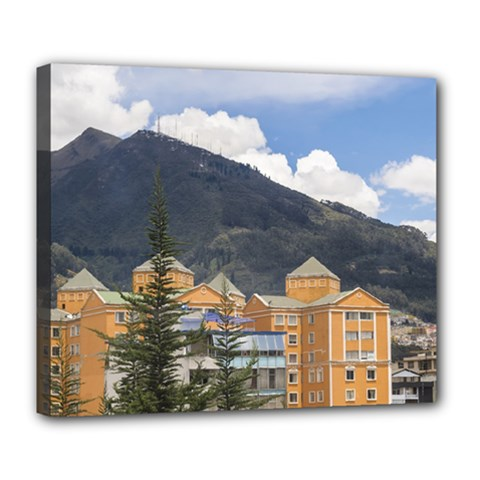Buildings And Mountains Urban Scene In Quito Ecuador Deluxe Canvas 24  x 20   by dflcprints
