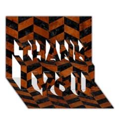 Chevron1 Black Marble & Brown Burl Wood Thank You 3d Greeting Card (7x5) by trendistuff