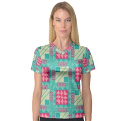 Pink Flowers In Squares Pattern Women s V Neck Sport Mesh Tee by LalyLauraFLM