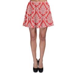 Salmon Damask Skater Skirt by SalonOfArtDesigns