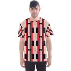 Rectangles And Stripes Pattern Men s Sport Mesh Tee by LalyLauraFLM