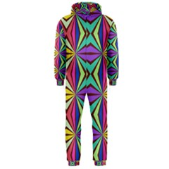 Connected shapes in retro colors  Hooded Jumpsuit (Men) by LalyLauraFLM