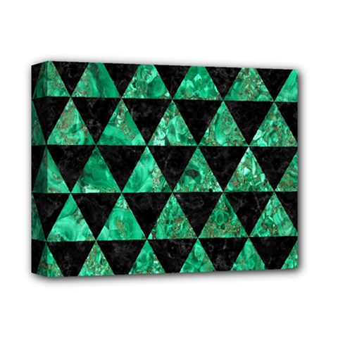 Triangle3 Black Marble & Green Marble Deluxe Canvas 14  X 11  (stretched) by trendistuff